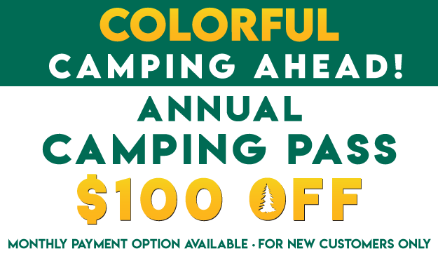 Colorful Camping Ahead! $100 OFF Camping Pass