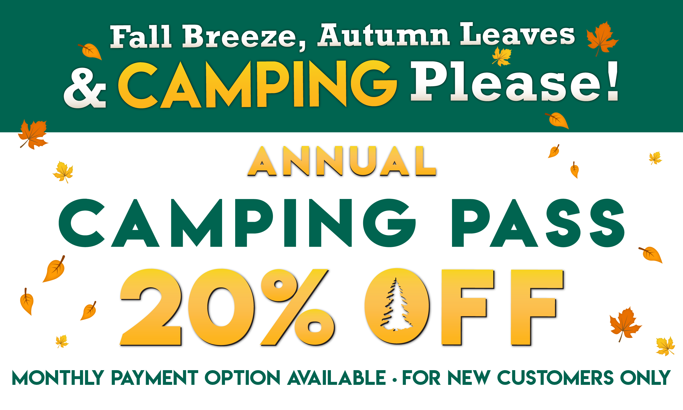 Fall Breeze, Autumn Leaves & Camping Please! 20% OFF Thousand Trails Camping Pass