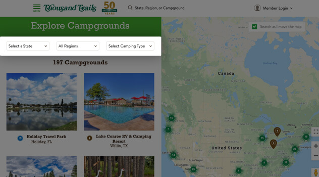 RV Resorts in the US | RV Parks & RV Campgrounds | Thousand ... on thousand trails cottonwood az, thousand trails oregon, thousand trails sign in, thousand trails cabins, thousand trails member,